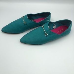 NWT. Zara Turquoise Loafers. Size 9, 10.